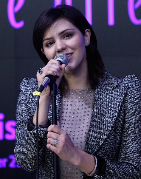 Katharine McPhee performs at the opening bell at the NASDAQ MarketSite on November 29, 2010 in New York City.
