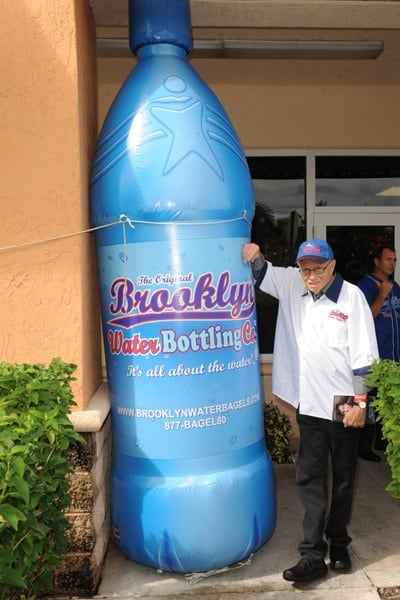 Larry King visits The Original Brooklyn Water Bagel Co to announce partnership with The Larry King Cardiac Foundation on November 4, 2010 in Delray Beach, Florida.