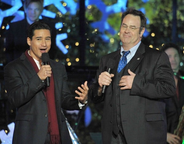 Dan Aykroyd and Mario Lopez attend the annual Hollywood Christmas Celebration at The Grove on November 21, 2010 in Los Angeles, California.