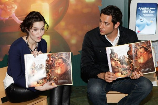 Mandy Moore and Zachary Levi promote 'Tangled' at the Disney Store on November 19, 2010 in New York City.