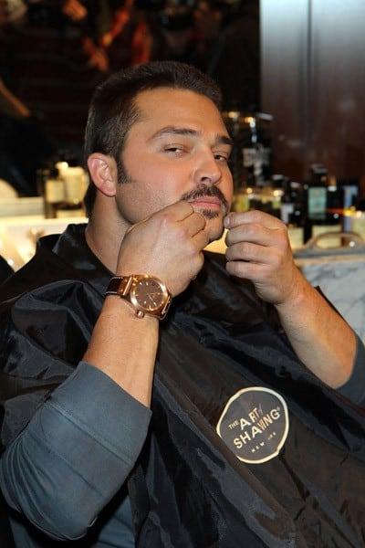 Nick Swisher pre-shave celebrates Movember at The Art of Shaving Shop & Barber Spa on November 29, 2010 in New York City.