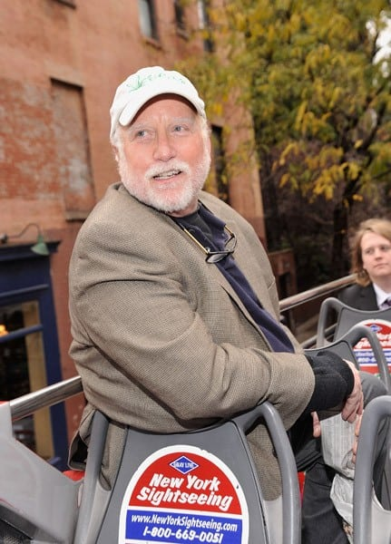 Actor Richard Dreyfuss leads a Gray Line bus tour in Greenwich Village after attending the Gray Line New York's Ride of Fame ribbon cutting ceremony where he was honored in front of Cherry Lane Theatre on November 5, 2010 in New York City.