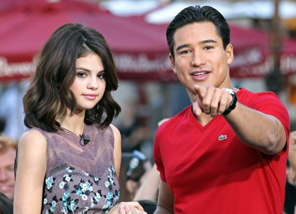 Selena Gomez and Mario Lopez are seen at The Grove on November 9, 2010 in Los Angeles, California.