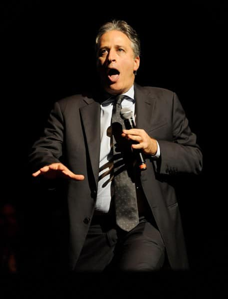 Jon Stewart performs on stage during the 'Stand Up for Heroes' at the Beacon Theatre on November 3, 2010 in New York City.