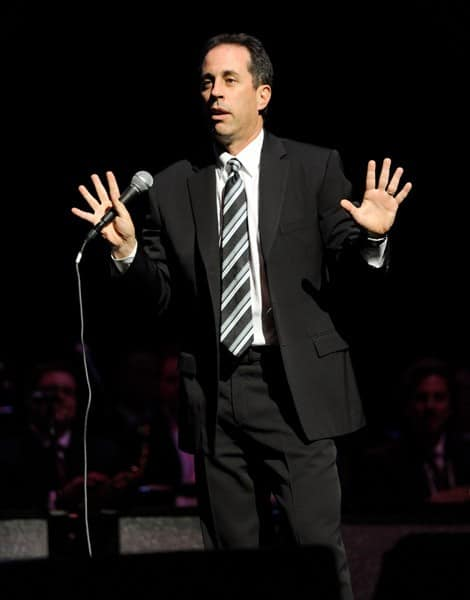 Jerry Seinfeld performs on stage during the 'Stand Up for Heroes' at the Beacon Theatre on November 3, 2010 in New York City.