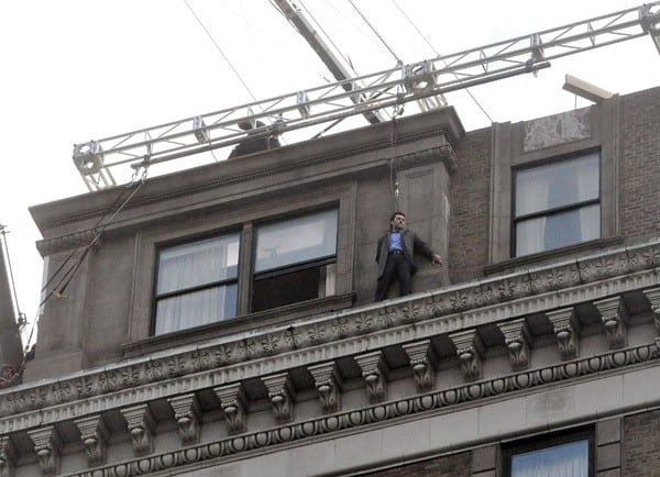Sam Worthington filming on location for 'Man On A Ledge' on the streets of Manhattan on October 31, 2010 in New York City.