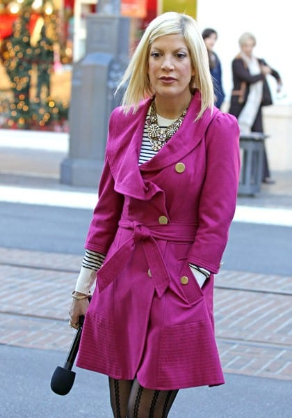 Tori Spelling is seen at The Grove on November 29, 2010 in Los Angeles, California.