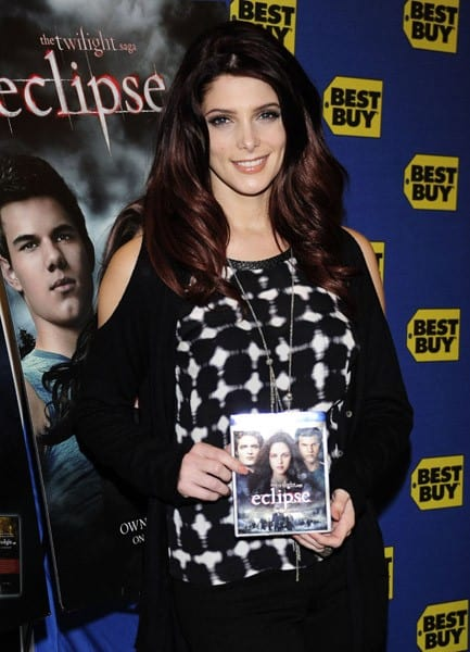 Ashley Greene signs copies of 'The Twilight Saga: Eclipse' at Best Buy on December 17, 2010 in New York City.
