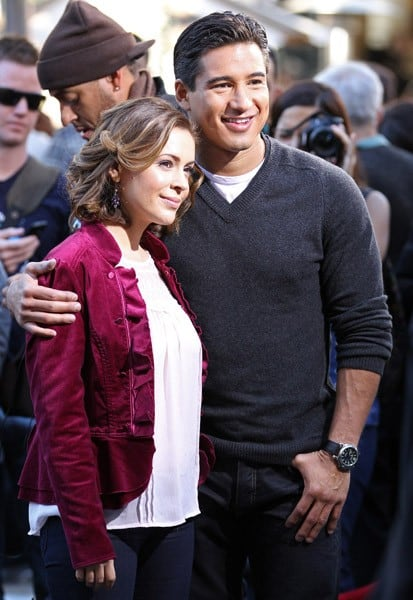 Alyssa Milano and Mario Lopez are seen at The Grove on November 30, 2010 in Los Angeles, California.