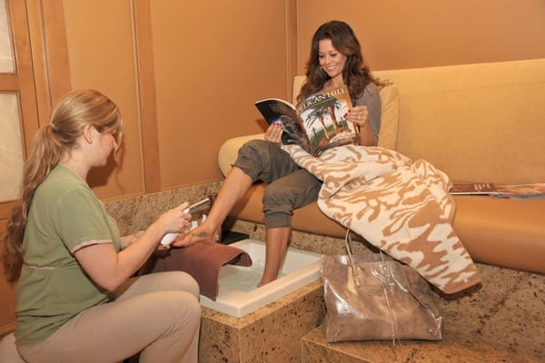 Brooke Burke enjoys the spa during a holiday getaway at Pelican Hill Resort on December 28, 2010 in Newport Beach, California.