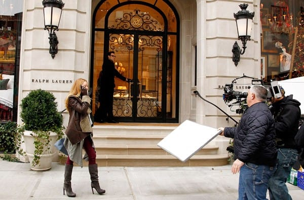 Actress Blake Lively films an upcoming episode of 'Gossip Girl at the new Ralph Lauren Women's and Home Flagship Store at Ralph Lauren Madison Avenue Store on December 13, 2010 in New York City.