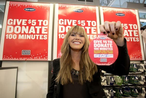 Singer Grace Potter at the Old Navy 'Million Minute Challenge' in Conjunction with The USO Presents 'VH1 Divas Salute The Troops' at Old Navy on December 2, 2010 in Santee, California.