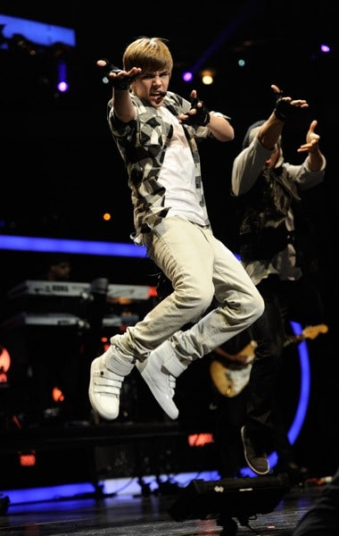 Justin Bieber performs onstage during Z100's Jingle Ball 2010 presented by H&M at Madison Square Garden on December 10, 2010 in New York City.