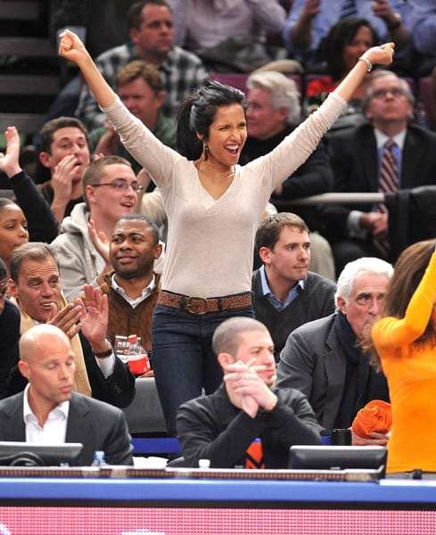 Padma Lakshmi attends the Boston Celtics vs New York Knicks game at Madison Square Garden on December 15, 2010 in New York City.