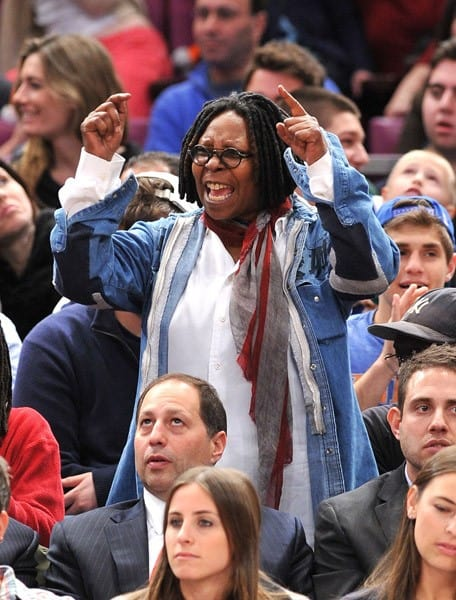 Whoopi Goldberg, Chris Brown, Ciara and Fabolous attend the Oklahoma City Thunder vs New York Knicks game at Madison Square Garden on December 22, 2010 in New York City.