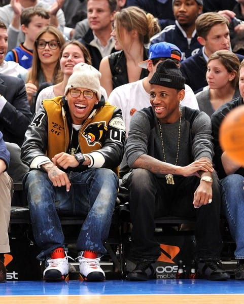 Chris Brown and Fabolous attend the Oklahoma City Thunder vs New York Knicks game at Madison Square Garden on December 22, 2010 in New York City.