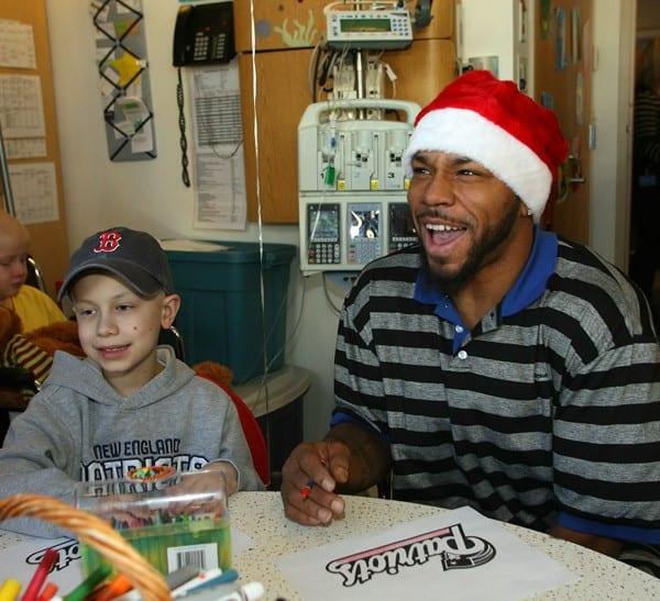 Kevin Faulk visits Children's Hospital Boston on December 21, 2010 in Boston, Massachusetts.