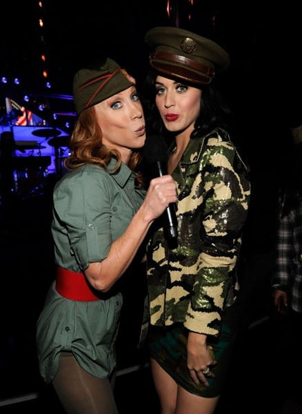 Comedian Kathy Griffin and singer Katy Perry pose during 'VH1 Divas Salute the Troops' presented by the USO at the MCAS Miramar on December 3, 2010 in Miramar, California.