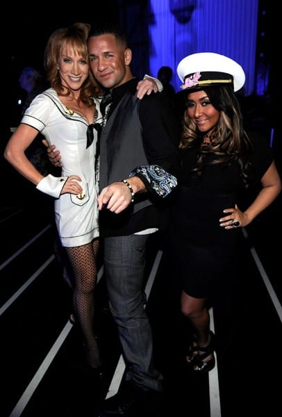 Comedian Kathy Griffin, Michael 'The Situation' Sorrentino and Nicole 'Snooki' Polizzi pose during 'VH1 Divas Salute the Troops' presented by the USO at the MCAS Miramar on December 3, 2010 in Miramar, California.