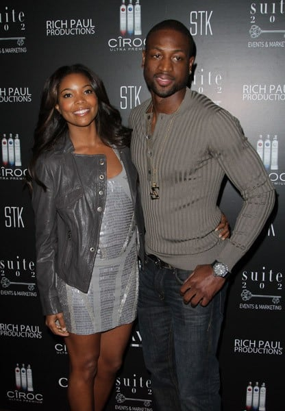 Gabrielle Union and Dwyane Wade attend CIROC VODKA Hosts LeBron James' 26th Birthday Party at The STK Coco Deville Lounge at The Gansevoort Miami Beach on December 30, 2010 in Miami Beach, Florida.