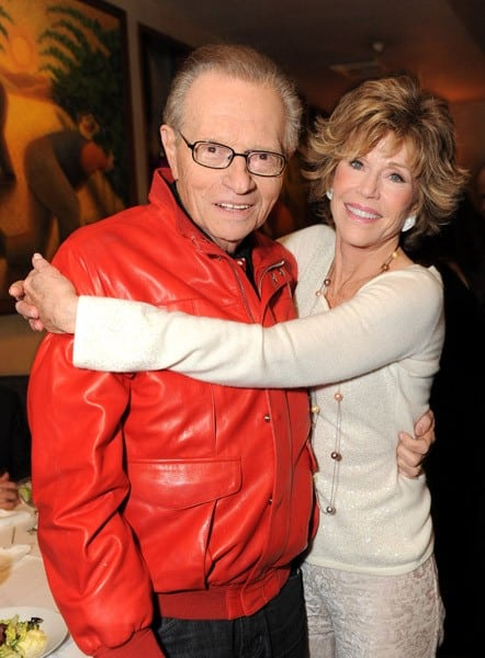 Larry King and Jane Fonda attend Larry King Live Wrap Party held at at Spago Beverly Hills on December 16, 2010 in Beverly Hills, California.