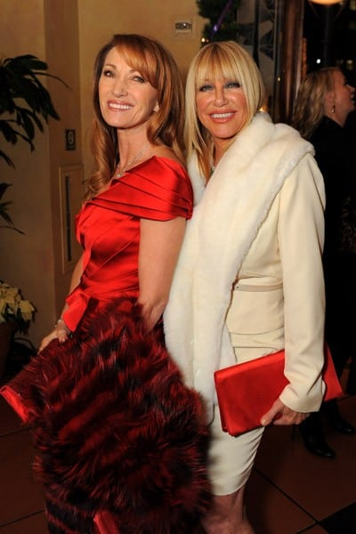 Jane Seymour and Suzanne Somers attend Larry King Live Wrap Party held at at Spago Beverly Hills on December 16, 2010 in Beverly Hills, California.