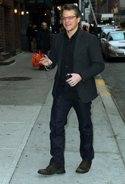 Actor Matt Damon visits 'Late Show With David Letterman' at the Ed Sullivan Theater on December 16, 2010 in New York City.