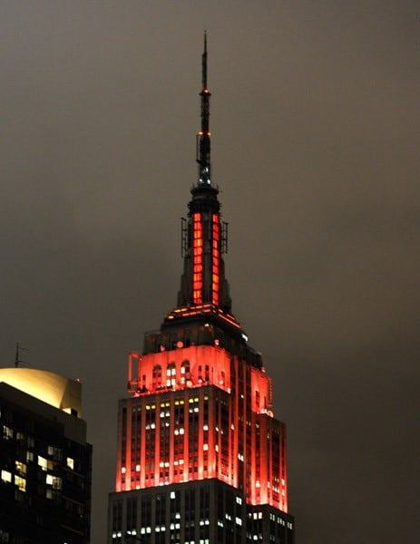 Penelope Cruz lit the Empire State Building red in support of World AIDS Day on December 1, 2010 in New York City.