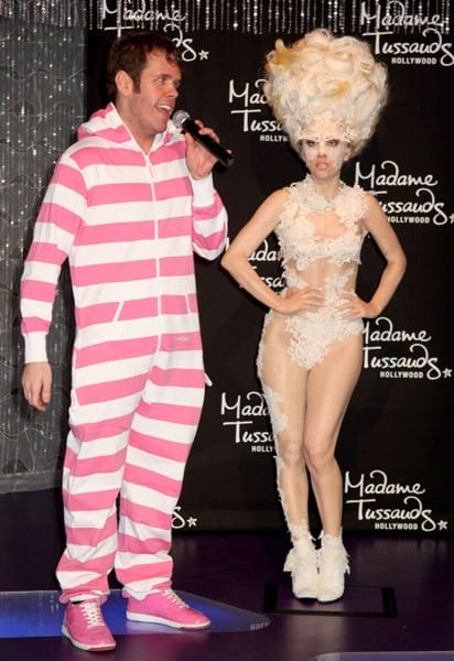 Perez Hilton unveils the Lady Gaga wax figure at Madame Tussauds Hollywood on December 9, 2010 in Hollywood, California.