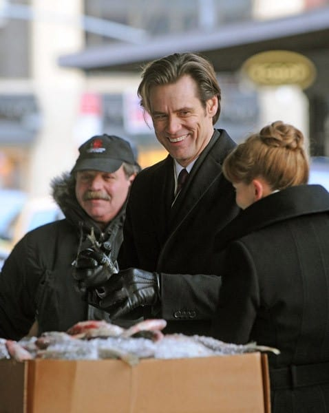 Jim Carrey films 'Mr. Popper's Penguins' on the Streets of Manhattan on December 23, 2010 in New York City.