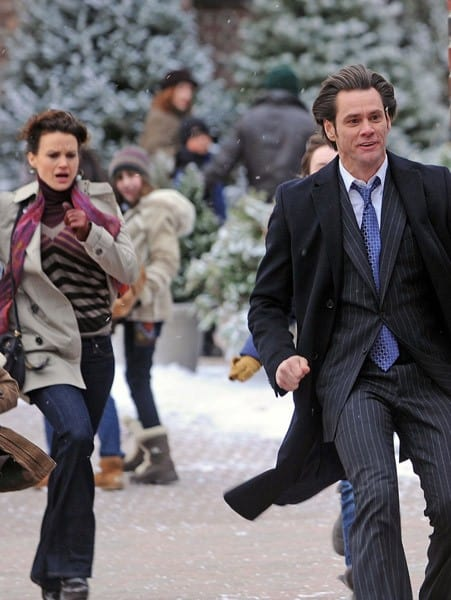 Carla Gugino and Jim Carrey filming 'Mr. Popper's Penguins' on the streets of Staten Island on December 6, 2010 in New York City.