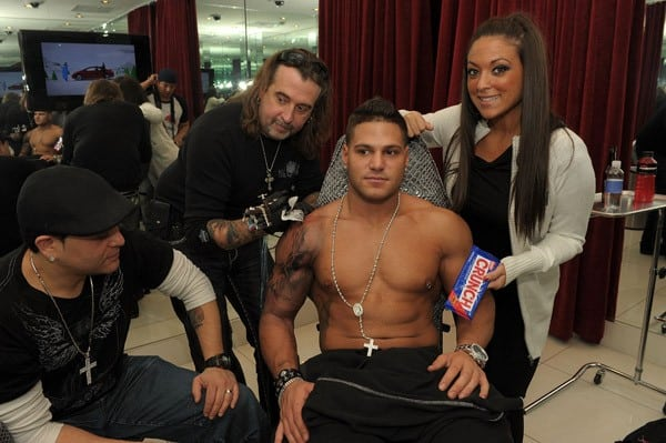 DJ Skribble, Mario Barth, Ronnie Magro and Sammi Giancola during Ronnie Magro's tattoo session at King Ink at The Mirage Hotel and Casino on December 12, 2010 in Las Vegas, Nevada.