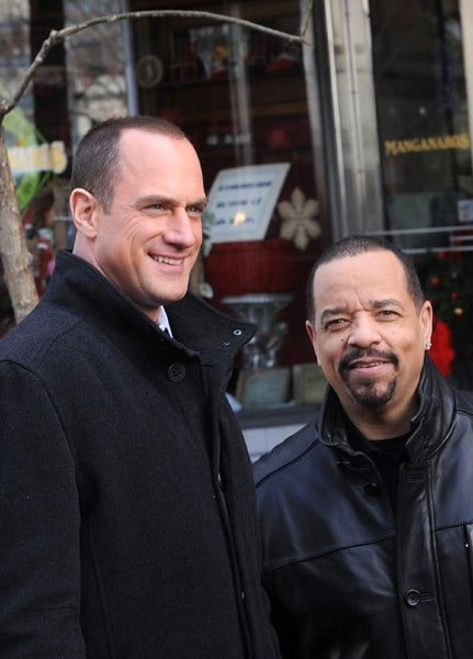 Dann Florek, Christopher Meloni and Ice-T filming on location for 'Law & Order SVU' on December 22, 2010 in New York City.