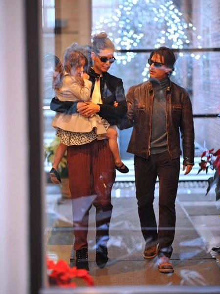Katie Holmes, Suri Cruise and Tom Cruise are seen in Manhattan on December 20, 2010 in New York City.