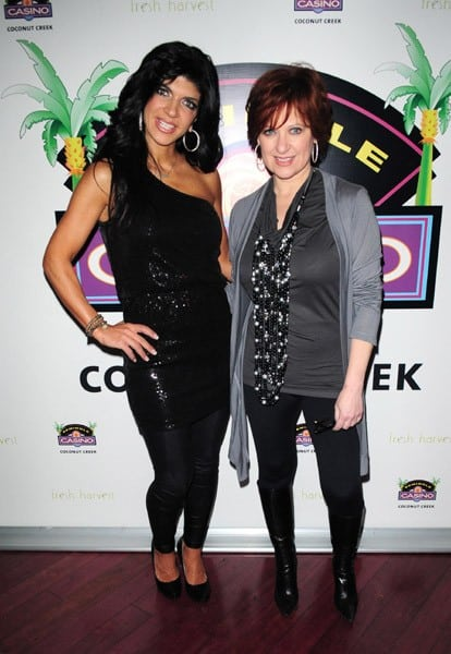 Teresa Giudice and Caroline Manzo attend the 'Real Housewives of New Jersey' Caroline Manzo and Teresa Giudice meet and greet at Seminole Casino Coconut Creek on December 16, 2010 in Coconut Creek, Florida.