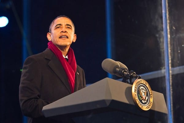 Barack Obama speaks at the 2010 National Christmas Tree Lighting presented by the National Park Service and the National Park Foundation at President's Park on December 9, 2010 in Washington, DC.