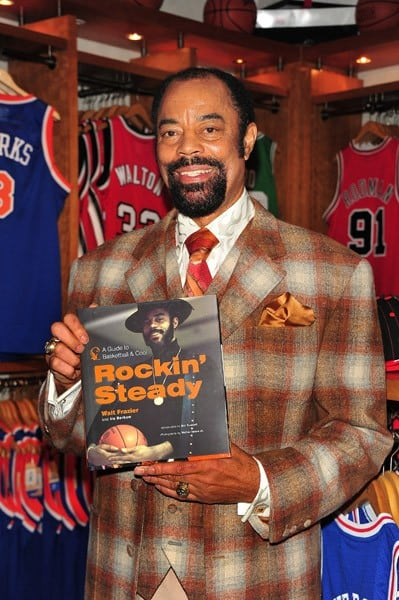 Former NBA star and current New York Knicks broadcaster Walt 'Clyde' Frazier promotes 'Rockin' Steady: A Guide to Basketball & Cool' at the NBA Store on December 7, 2010 in New York City.