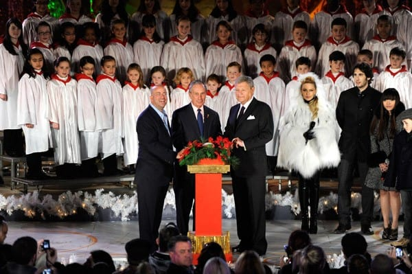 Mayor Michael Bloomberg and Jeff Zucker attend the 2010 Rockefeller Center tree lighting at Rockefeller Center on November 30, 2010 in New York City.