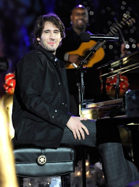 Josh Groban performs at the 2010 Rockefeller Center tree lighting at Rockefeller Center on November 30, 2010 in New York City.