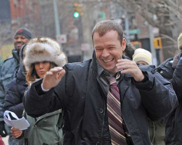 Jennifer Esposito and Donnie Wahlberg filming on location for 'Blue Bloods' on the streets of Manhattan on January 6, 2011 in New York City.