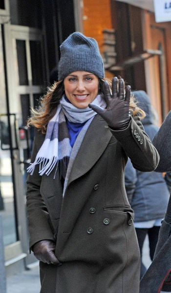 Jennifer Esposito and Donnie Wahlberg filming on location for 'Blue Bloods' on the Streets of Manhattan on January 10, 2011 in New York City.