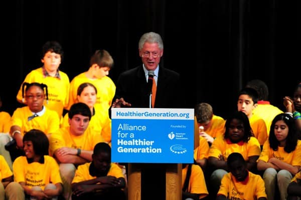Former United States President Bill Clinton attends the announcement for Alliance for a Healthier Generation at Edison Middle School on January 21, 2011 in Miami, Florida.