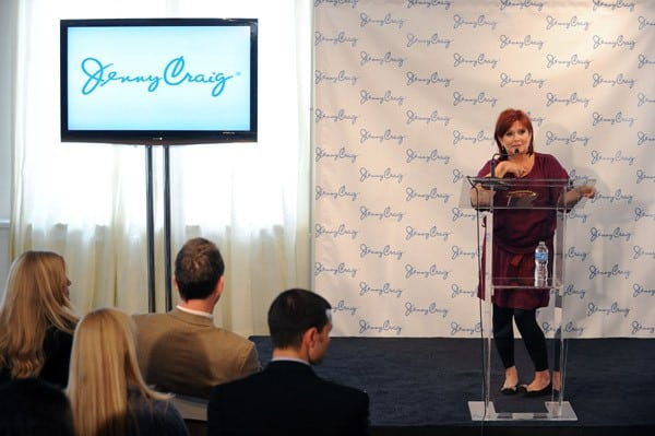 Acclaimed actress Carrie Fisher speaks onstage as she was announced as a Jenny Craig spokesperson and is officially embarking on her journey to lose 30 Pounds on January 12, 2011 in New York City.