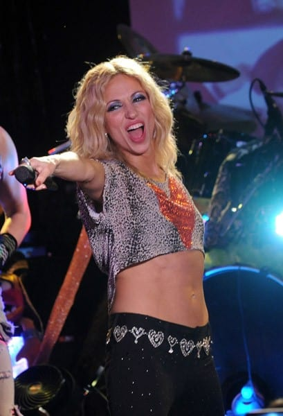 Recording artists Debbie Gibson and Tiffany perform together during the Back to the Eighties show at the Canal Room on January 22, 2011 in New York City.