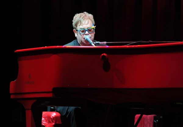 Executive producer Sir Elton John performs onstage during Touchstone Pictures' 'Gnomeo And Juliet' after party at the El Capitan Theatre on January 23, 2011 in Hollywood, California.