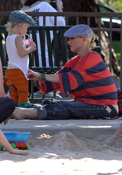 Gwen Stefani and Zuma Rossdale are seen at the park on January 17, 2011 in Los Angeles, California.