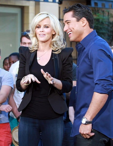 Jenny McCarthy and Mario Lopez are seen at The Grove on January 27, 2011 in Los Angeles, California.