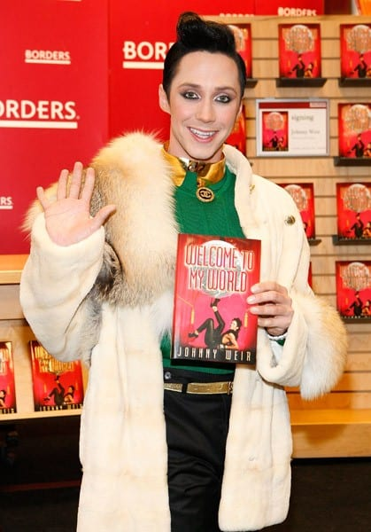 Johnny Weir promotes his new book 'Welcome To My World' at Borders Columbus Circle on January 11, 2011 in New York City.