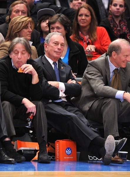 Mayor Michael Bloomberg attends the San Antonio Spurs vs New York Knicks game at Madison Square Garden on January 4, 2011 in New York City.