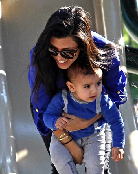 Kourtney Kardashian and Mason Dash Disick sighting at Coldwater Canyon Park on January 22, 2011 in Los Angeles, California.